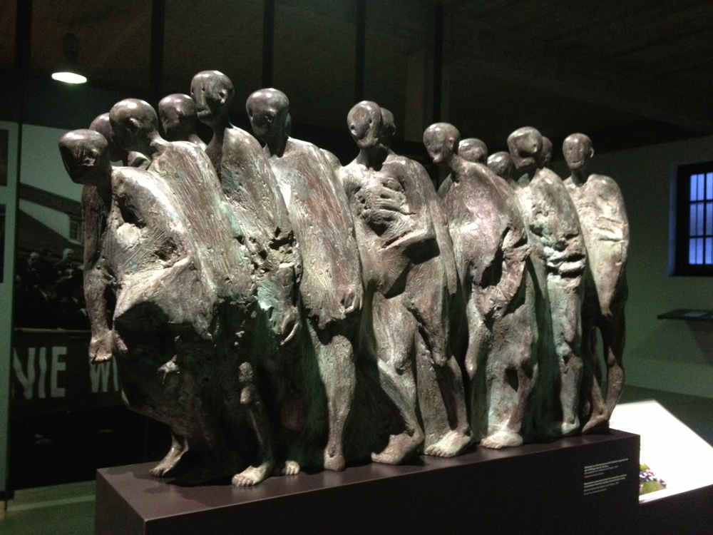 Monument commemorating the evacuation marches of prisoners from the Dachau Concentration Camp.  Bronze sculpture by Hubertus von Pilgrim, 1991.