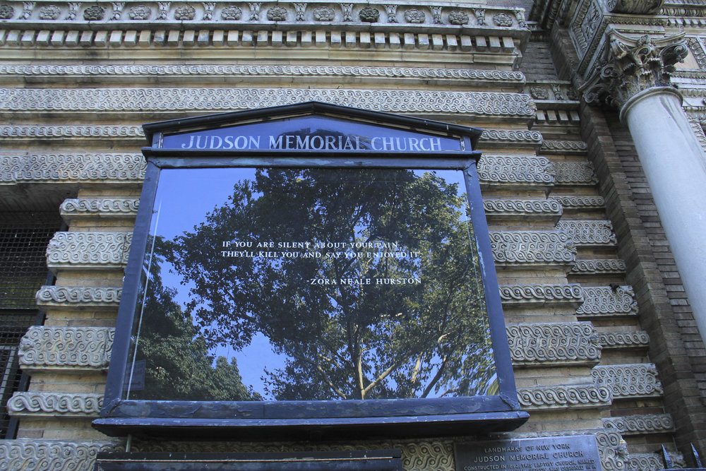 Judson Memorial Church hosts the Coalition's weekly meetings with undocumented immigrants at which dozens of volunteers help to educate immigrants on their rights in America as well as how to protect themselves and their families when facing discrimination, detention, or deportation. Judson Memorial Church in Washington Square Park, New York – August 17, 2017