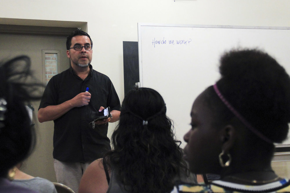 "Each new member that comes to the church for legal counseling is given an orientation meeting with Juan Carlos Ruiz in which he explains, ""We are each others' teachers. Your stories teach me then I advocate to help you."" Judson Memorial Church in Washington Square Park, New York – August 17, 2017"