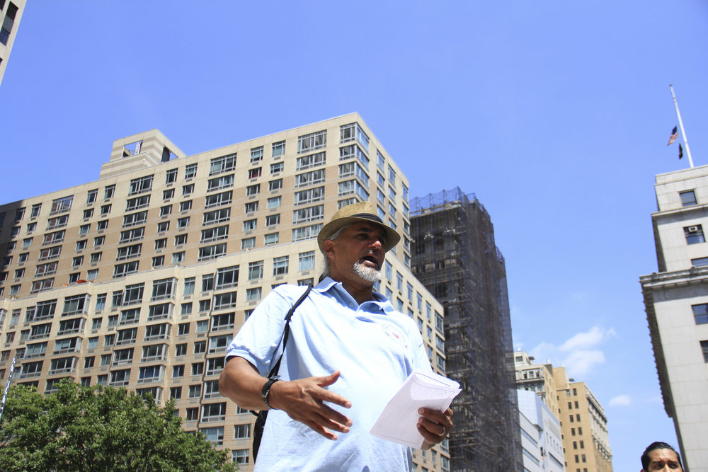 Ravi tells the volunteers before beginning the Jericho walk on Thursday August 17, 2017 not to accept the unjust policies that have perpetuated racist stereotypes about all different immigrant communities. These assumptions have led to political, economic, and social discrimination in recent decades. Jacob K. Javitz Building at Federal Plaza, New York. August 17, 2017.