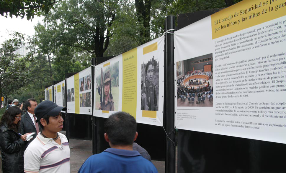 Child Soldiers exhibition, on display in Mexico