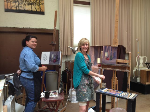 Rachel Cate and Laurelin Gilmore (2 wonderful Sac artists) working on their still life.