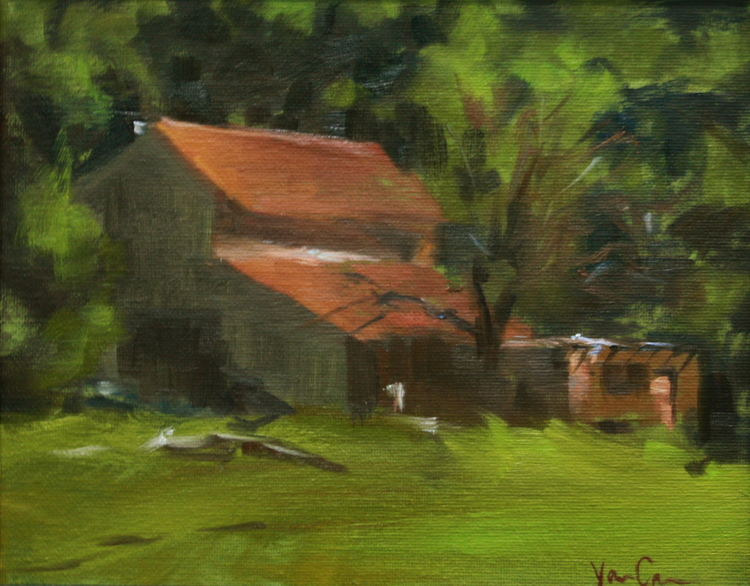 SOLD - Santa Clara Barn, Oil on Canvas