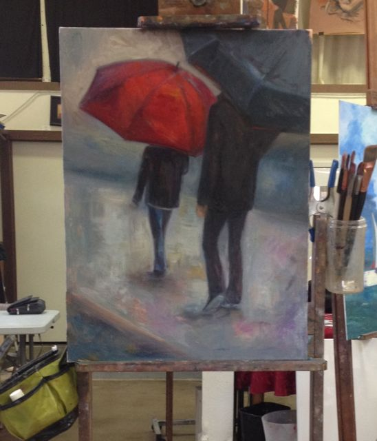 Renee's current series places figures with umbrellas in unexplored places. It's not about where they are, but the mood that is created. She says the red umbrella is symbolic of God's mercy and love covering His children.