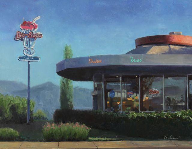 BeBop's Diner - Oil on Canvas - 22x28 - For Sale - $1800.00