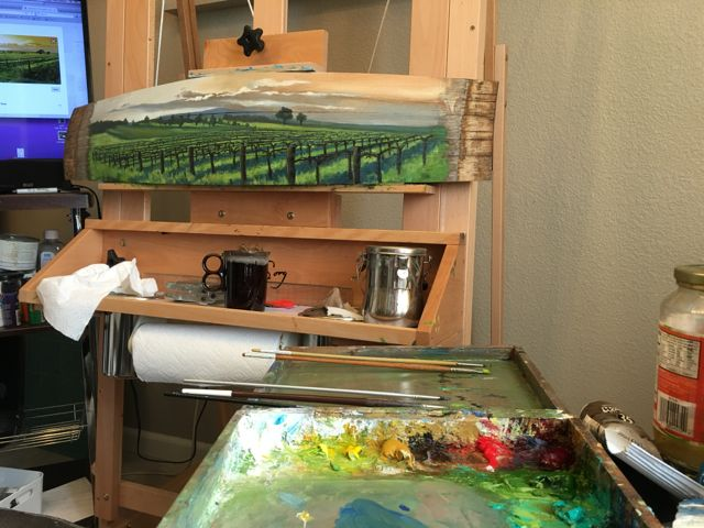 I've dabbled in painting vineyards since moving out to CA. Wine country is vast and beautiful. I like to work from numerous photo images, plein air studies, and sketches to create panoramic landscape paintings.