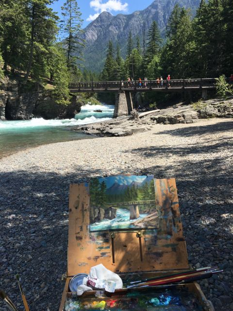 I'm all set up along the Flathead River. It was probably the most comfortable place to paint in the park. We had shade, river breeze, and we were off the road.