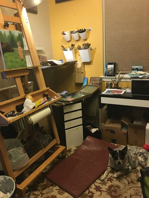 My messy studio, but what a sweet art companion keeping me company!