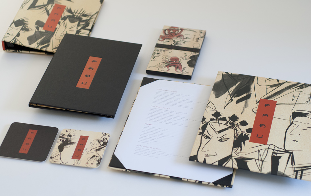 Illustrated menu and collateral for Pabu Restaurant, the Mina Group. Art directed by Michael Vanderbyl.