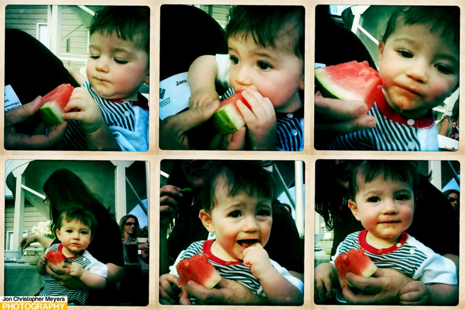 Conner enjoying a bit of watermelon