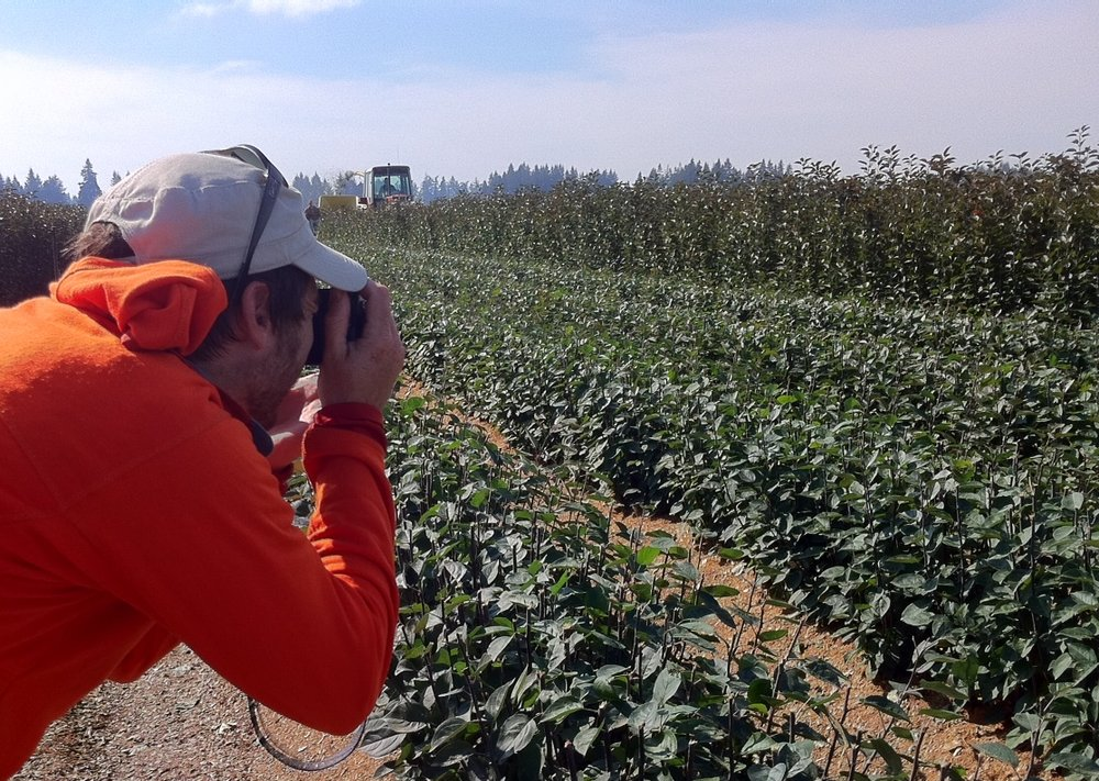 Jon Christopher Meyers working the fields with his camera.  Willamette Valley, Oregon.  Photo by Carl Oslund