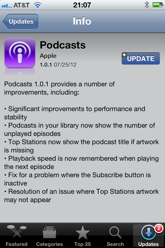 "I don't know whether Apple listens to podcasts, but it apparently does listen to podcast listeners. About a month after the release of its iOS Podcasts app, Apple has issued an update for the application, addressing such issues as fixing broken album art, showing the number of unplayed episodes in the list, and - praise be to the deity or deities of your choice - ""significant improvements to performance and stability.""  Podcasts  is a free app in the App Store."
