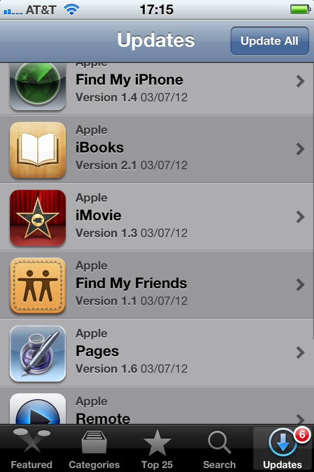 In addition to new hardware announcements, Apple issued a slew of updates for its iOS apps on Wednesday. Here are the six from my phone:   Find My iPhone (v1.4) Support for Retina display-capable devices Bug Fixes Stability Enhancements   iBooks (v2.1) Read books more easily with sharply detailed text on the new iPad's amazing Retina display See page numbers that correspond to the printed edition of selected titles Search for a page number to jump to a desired page with a single tap Use your finger as a highlighter when swiping over text This version also includes a number of important stability and performance improvements   iMovie (v1.3) Create beautiful movie trailers with stunning graphics and world-class soundtracks (Trailers are available on iPhone 4 or later and iPad 2 or later) Preview music and sound effects in the Audio Browser Create a song in GarageBand and send it directly to iMovie   Find My Friends (v1.1) Support for Retina display Bug fixes Stability enhancements   Pages (v1.6) Easily enter text using the landscape keyboard on iPhone and iPod touch Create and view stunning 3D bar, line, and pie charts Pages 1.6 is enhanced to take advantage of the Retina display on the new iPad Includes performance improvements   Remote (v2.3) Support for iTunes Match on Apple TV Support for Retina display on iPad iTunes U (v1.1 - iPad Only) iTunes U 1.1 is now designed for the spectacular Retina display on the all new iPad. This version also includes a number of performance improvements.