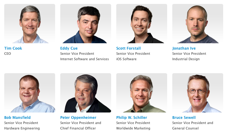 I may be late to this, but in perusing Apple's Executive Bios page, I'm struck by how much one of these things is not like the others.