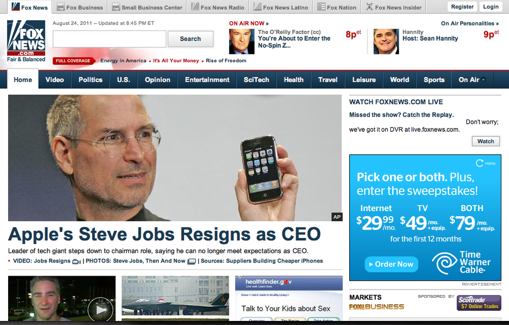 Jobs Resigns: Not for Tech Sites Only