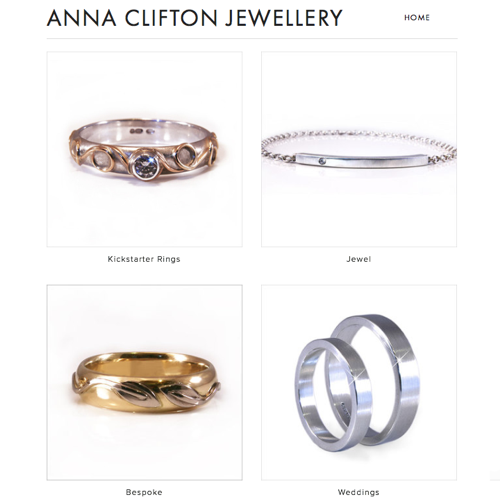 Anna's site showcasing her beautiful jewelry was built using Squarespace.