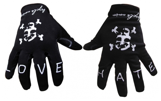 New from the Bicycle Union are these strapless gloves. The gloves feature a simple design without any plastic fuss on the knuckles and even have Love and Hate written on them