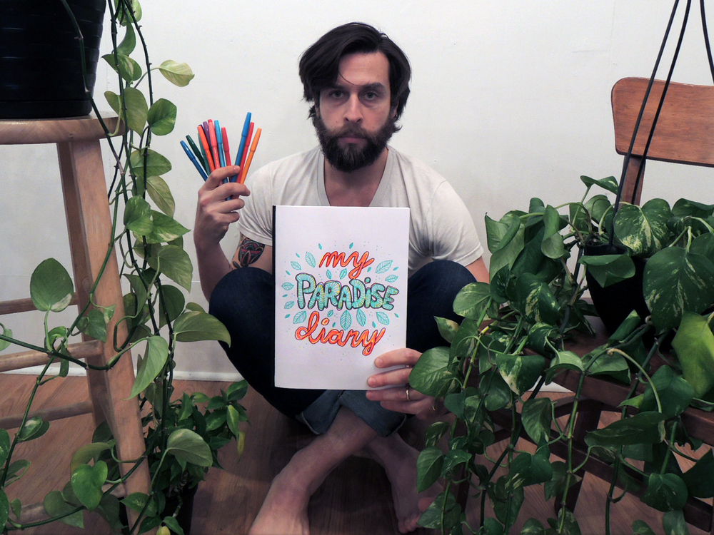 This is My Paradise Diary. I went on vacation to Costa Rica with a bunch of friends and I brought a set of thirty-six Pentel Color Pens and a homemade sketch book to document my experience.