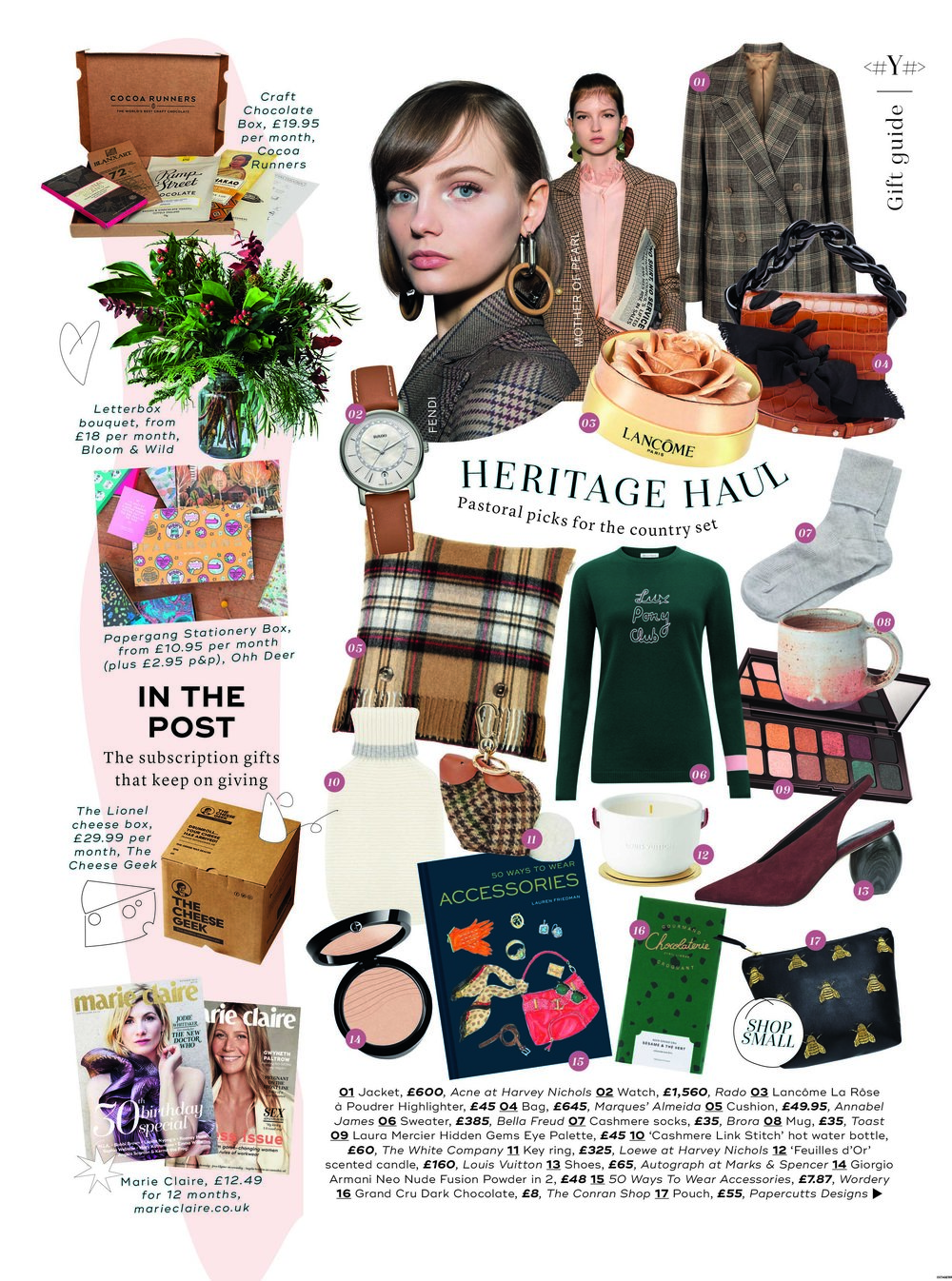 Marie Claire Christmas Gift Guide - Featuring the 'Queen Bee' Leather make up bag from the pick of the UK's most creative small businesses.