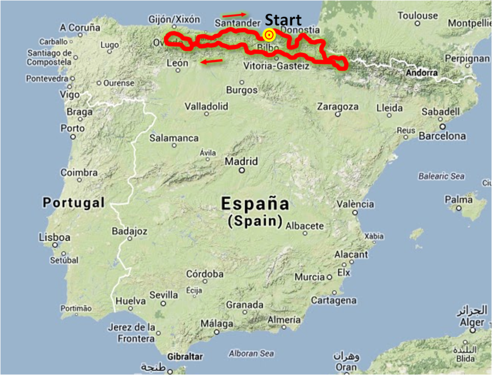 20131027 North and Pyrenees Route All Spain.png