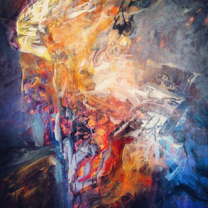 """Detail from""""Creative Fire"""" 60 x 40 acrylic and oil"""