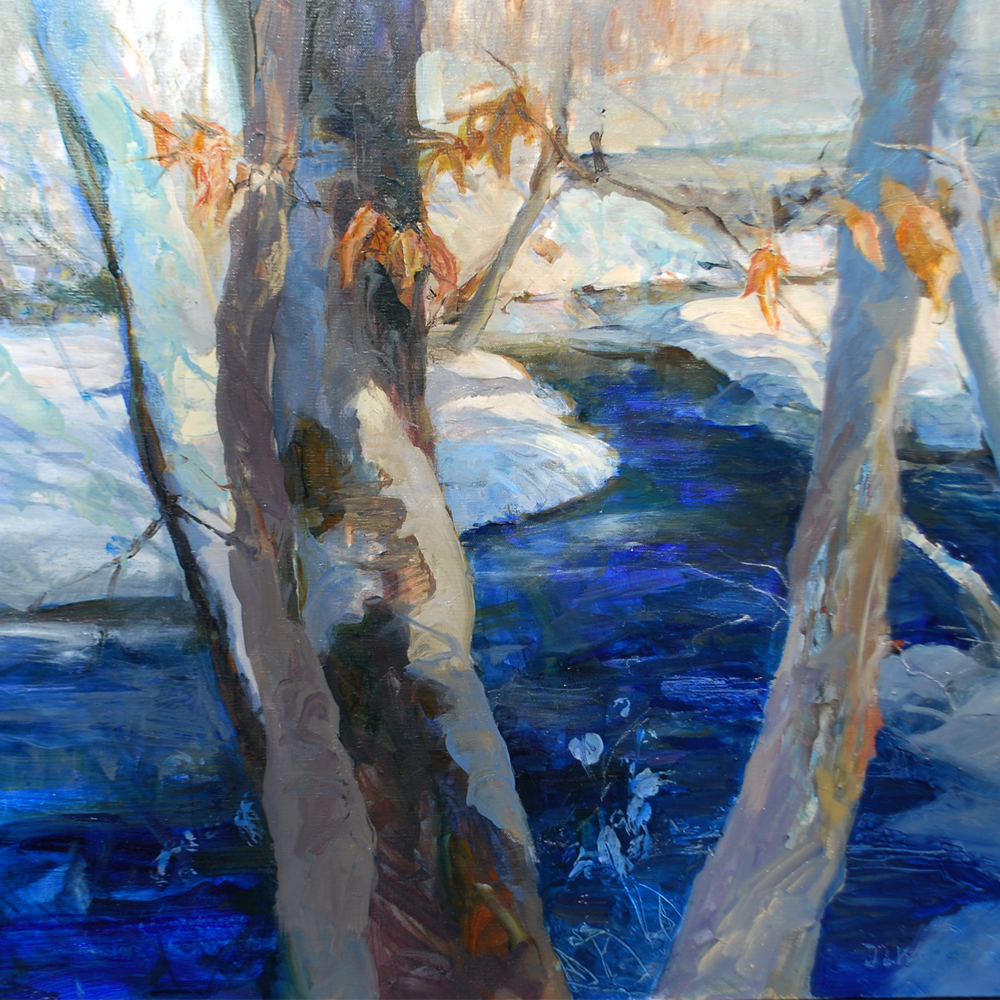 """Detail from """"Ridley Creek """" 28 x 30 oil/ acrylic"""