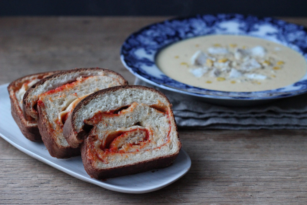 Haddock Chowder and Swirl Bread