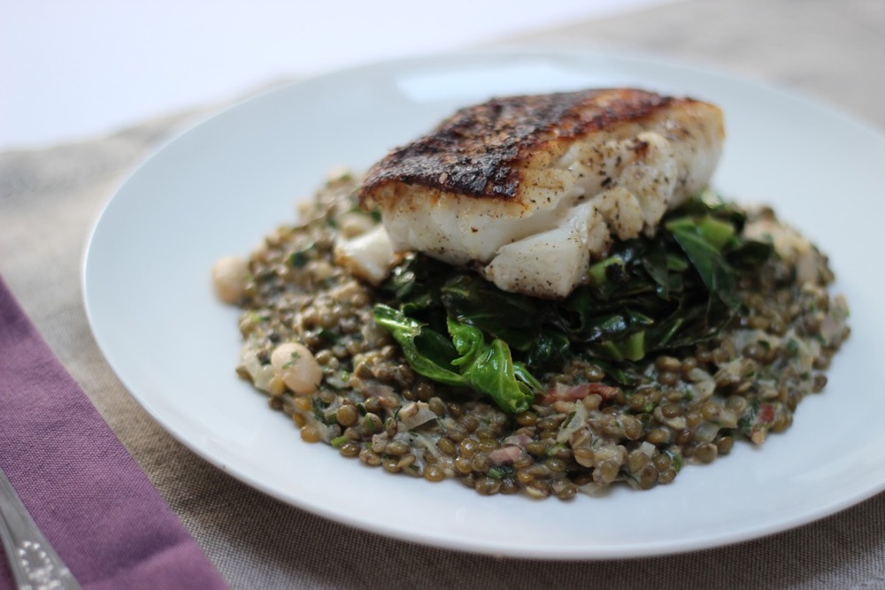 Pan-fried cod on tarragon puy lentils and wilted spring greens — The ...
