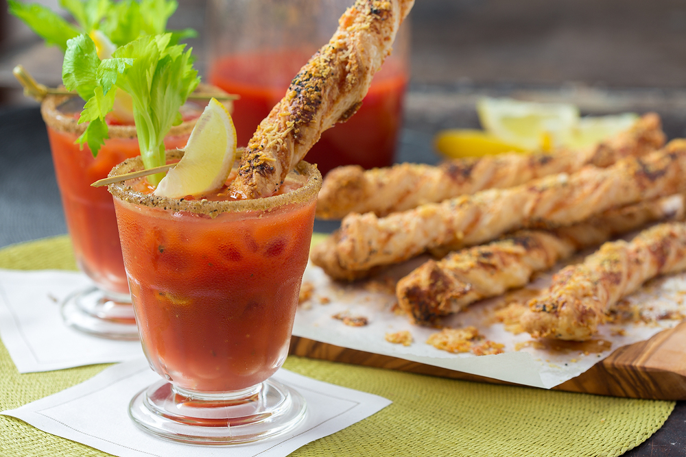 Bloody Mary and Cheese Straws