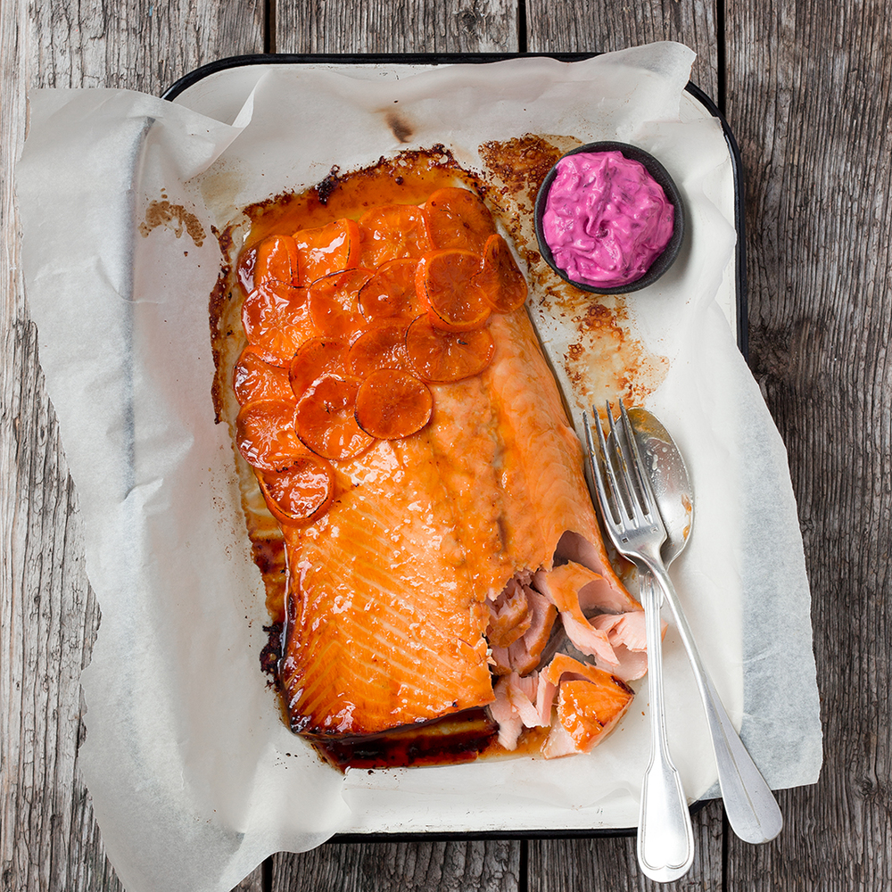 Bourbon and clementine salmon