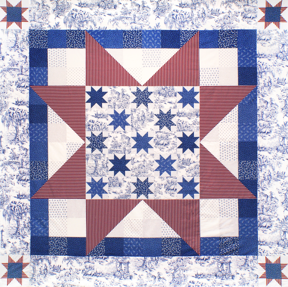 """Broad Stripes, Bright Star"" quilt (76"" x 76"") Download the FREE pattern, designed by Darlene Zimmerman, from our Patterns section at robertkaufman.com."