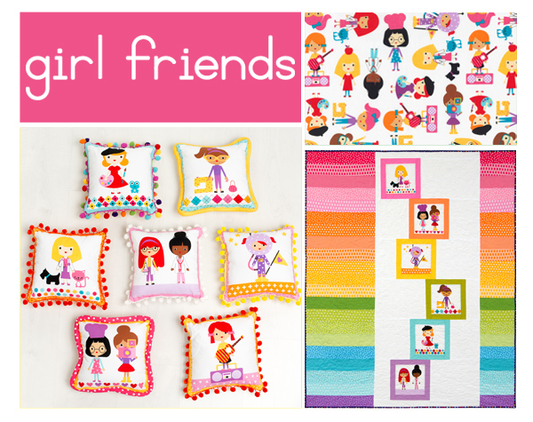 Ann Kelle's new   Girl Friends fabrics   are cute as can be! With two color stories, panels featuring  the girls and their careers, and an adorable print, this collection is as much fun as it is inspiring for young ladies. Head to our website to check out the free patterns we have featuring this collection, including the   Pom Pom Pillows   and   Rainbow Building Blocks   quilt seen above!