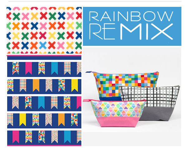 The   Rainbow Remix   collection by Ann Kelle is the perfect combination of color and geometrics. Four color stories and a selection of playful, versatile prints make this collection a perfect addition to any color-lover's fabric stash! Check out  our website to learn more about our free patterns, including the   Ticker Tape   quilt and the   Open Wide Pouches  .