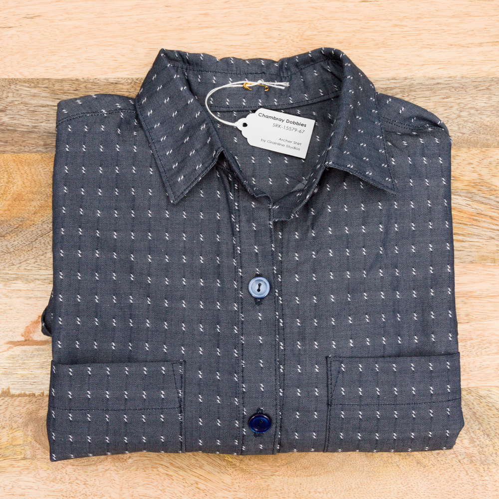 Archer Shirt designed by Grainline Studio and made by Andrea Taddicken, featuring Chambray Dobbies.