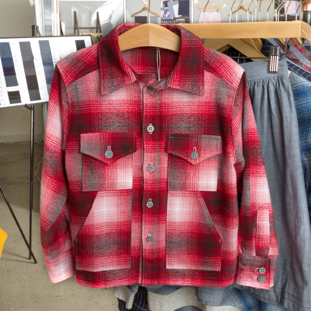 Boys' Shirt Jacket by Simplicity, made by Andrea Taddicken,, featuring Mammoth Flannel.