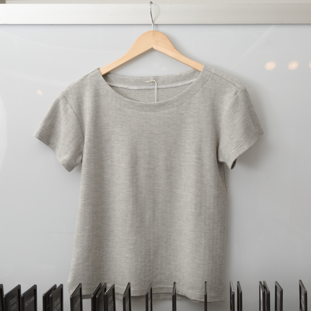 Maritime Tee by Liesl + Co., made by Devon Iott, featuring Knit Herringbone Heather