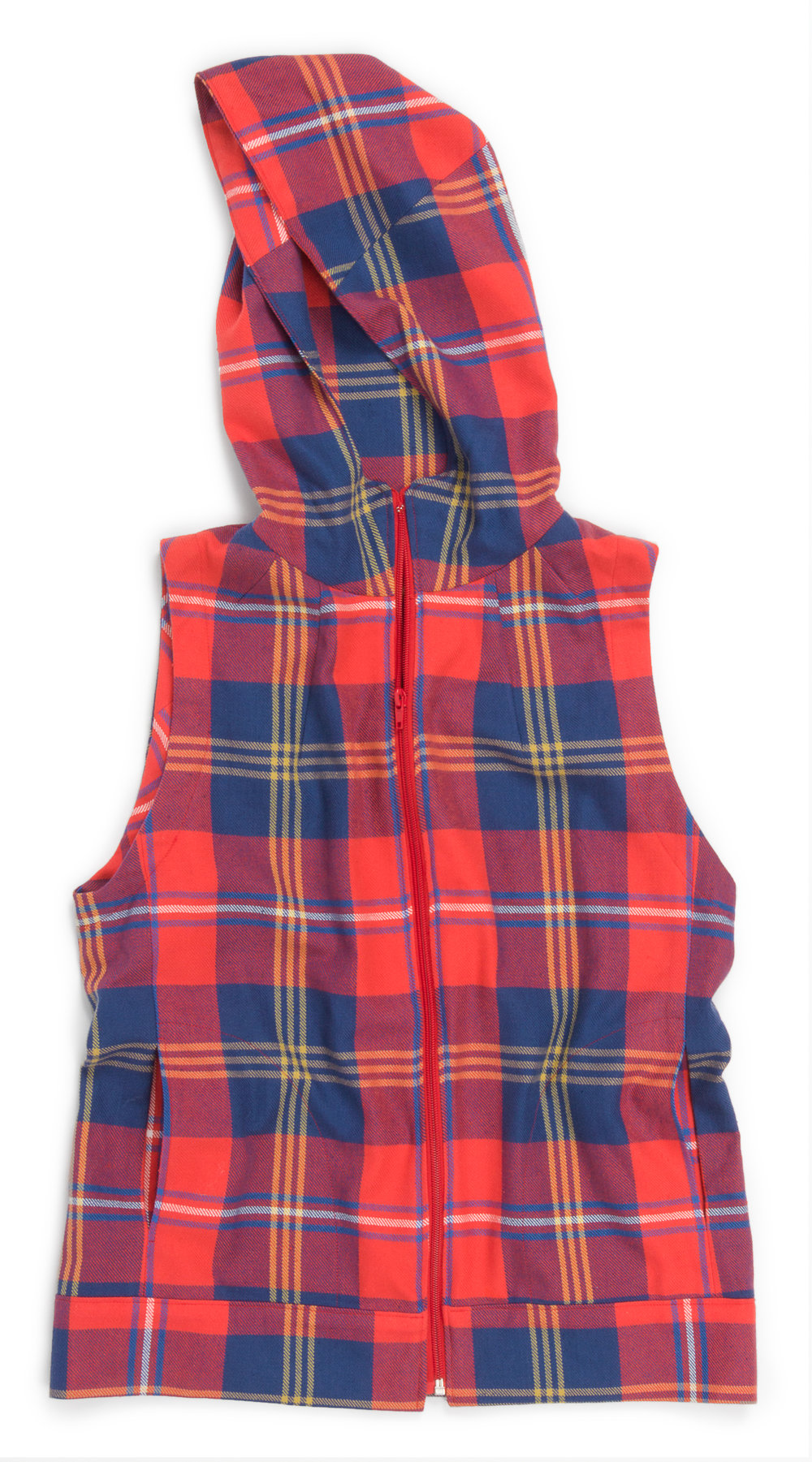 Dropje Hooded Vest designed by Waffle Patterns, made by Samantha Lindgren, features Grizzly Plaid (SRK-16417-3 RED)