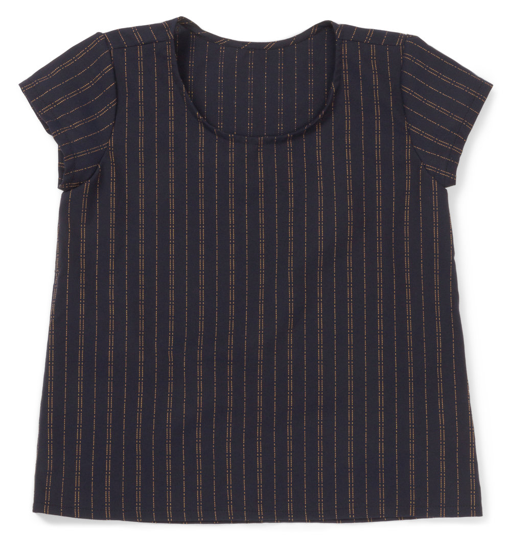 Scout Tee designed by Grainline Studio, made by Erika Bea, featuring Indikon (SRK-16717-62 INDIGO)