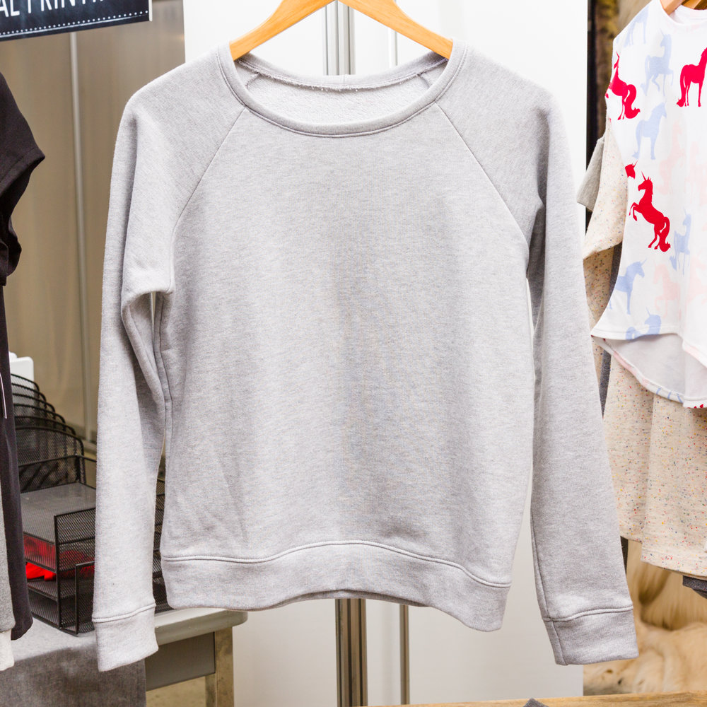 Linden Sweatshirt designed by Grainline Studio, made by Knitty Bitties, featuring French Terry Light Grey