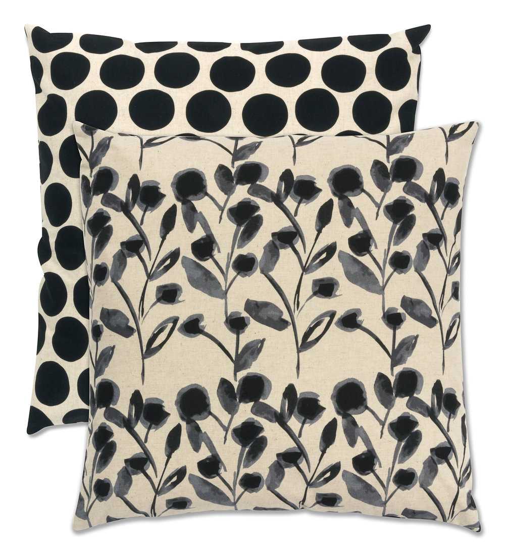 Pillows designed by Robert Kaufman Fabrics, made by Ramona Burke, featuring Sevenberry: Canvas Cotton/Flax Prints