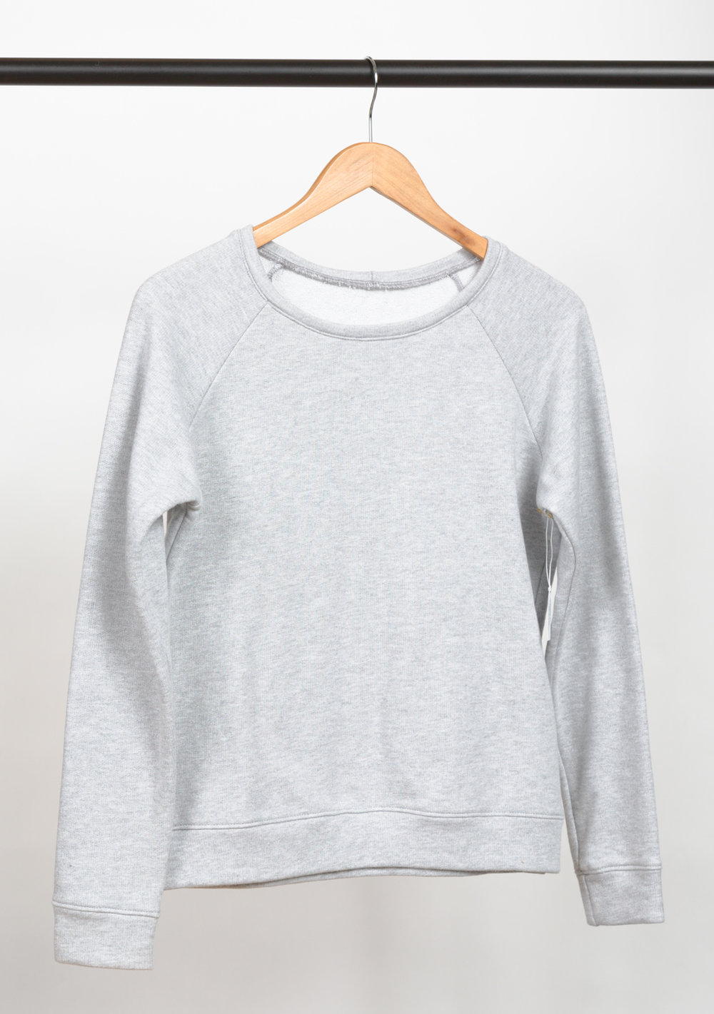 LINDEN SWEATSHIRT   DESIGNED BY   GRAINLINE STUDIO  , MADE BY   KNITTY BITTIES  , FEATURING   FRENCH TERRY LIGHT GREY