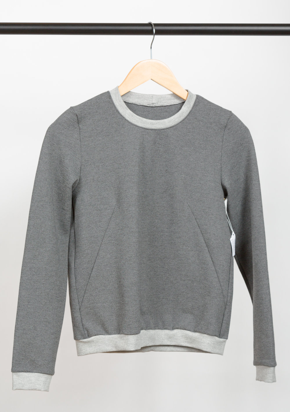 SLOANE SWEATSHIRT   DESIGNED BY   NAMED ,  MADE BY   PINK SUEDE SHOE,   FEATURING   ARIETTA PONTE DE ROMA HEATHER