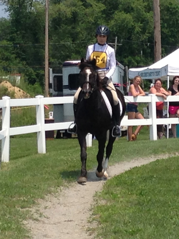 Warming up for dressage test at 2015 Pipestave event.