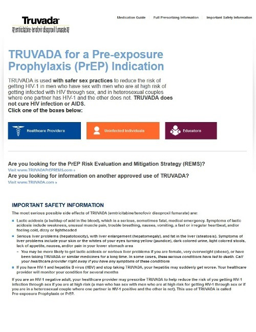 Website created by Gilead, the pharmaceutical company that makes Truvada