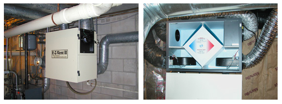 "Two different brands of HRV units with 6"" ductwork to outside vents near ground level."