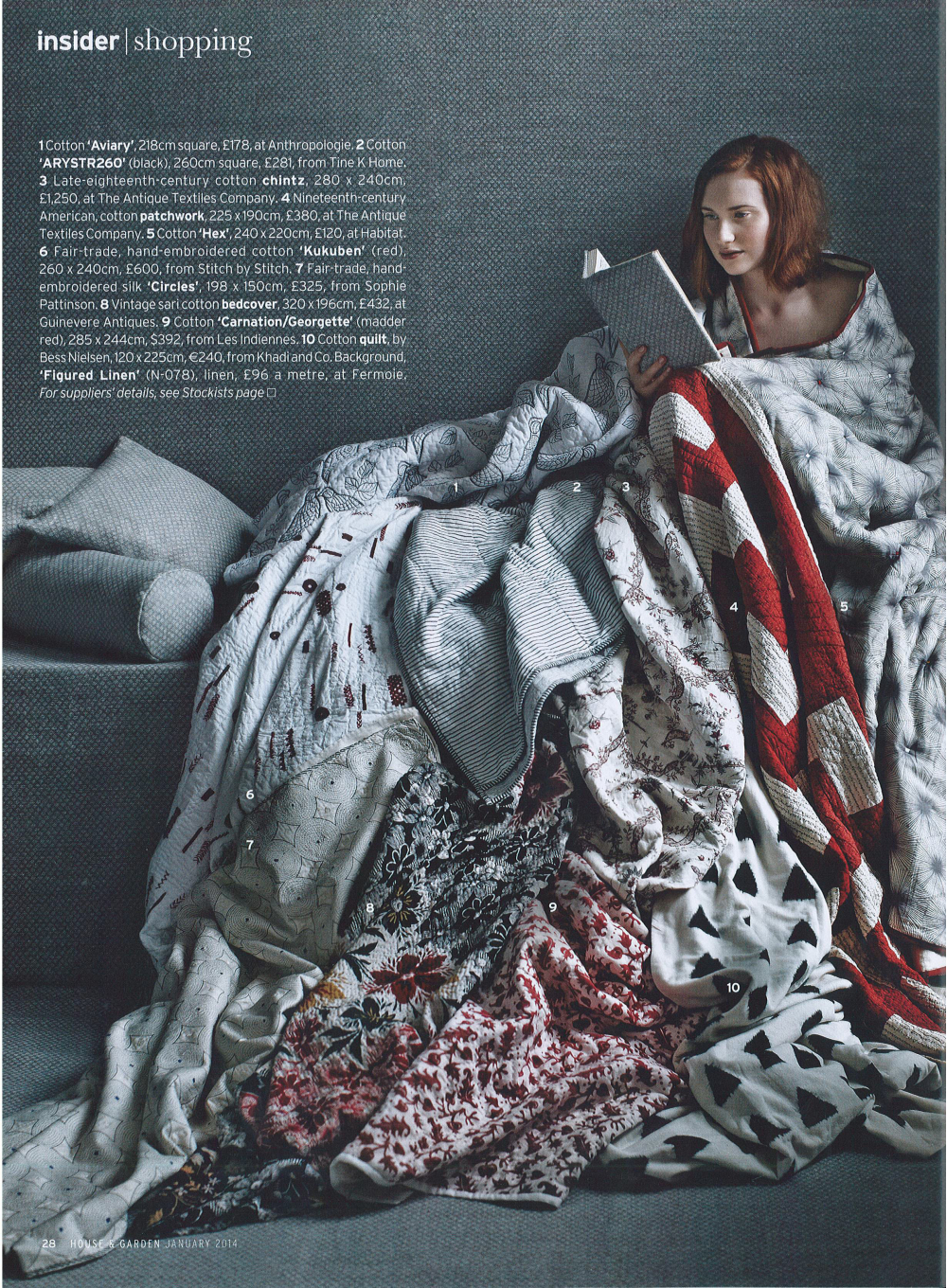 """House and Garden, Jan 2014: """"Sleeping Beauties"""" featuring our red and white embroidered Kukuben quilt (no.6)."""