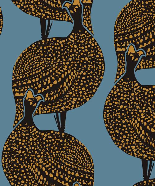 Lady Bird linen fabric and wallpaper, Mitas & Co.