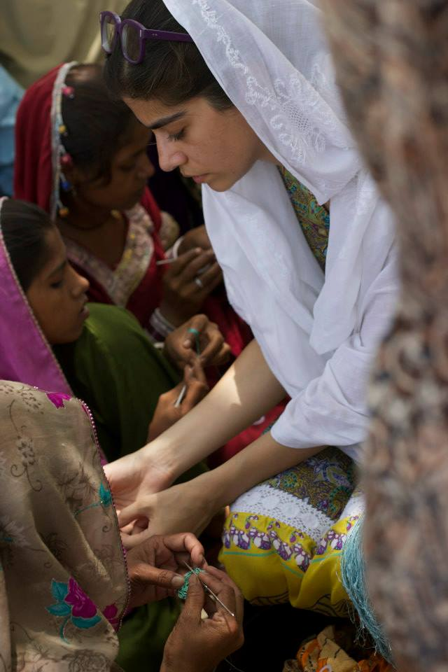 """S jo, working with artisans in Pakistan, as part of her """"Threads of the Indus"""" research and development project."""