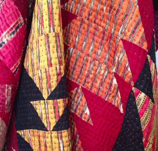 """Stitch by Stitch """"piece unique"""" Fish Mashru Quilt"""