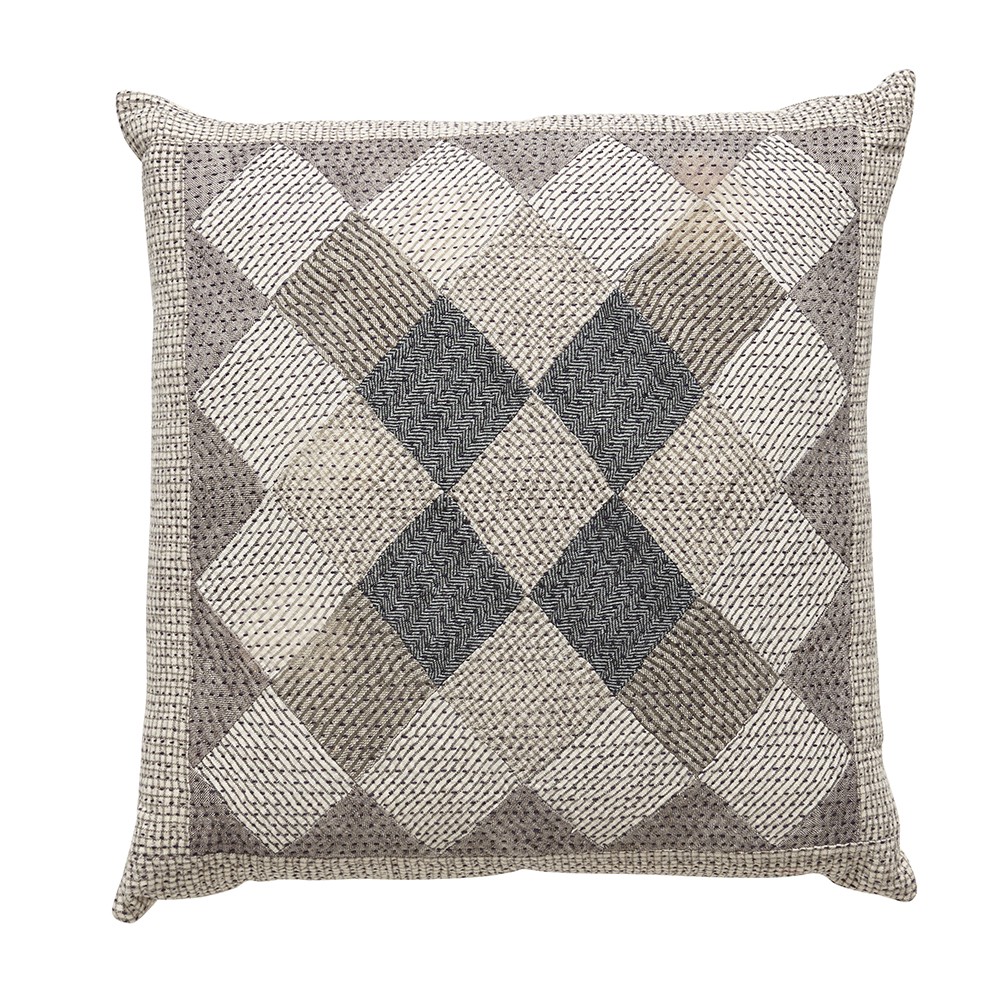 Khamir organic cotton patchwork cushion